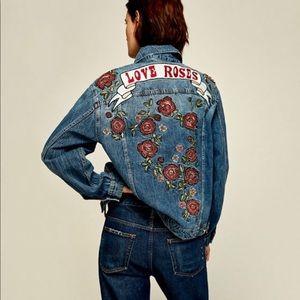 Zara Embroidered Denim Jacket